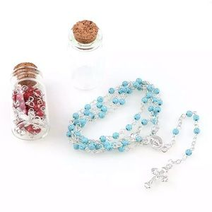 Children's Holy rosary, Turquoise 4mm plastic bead